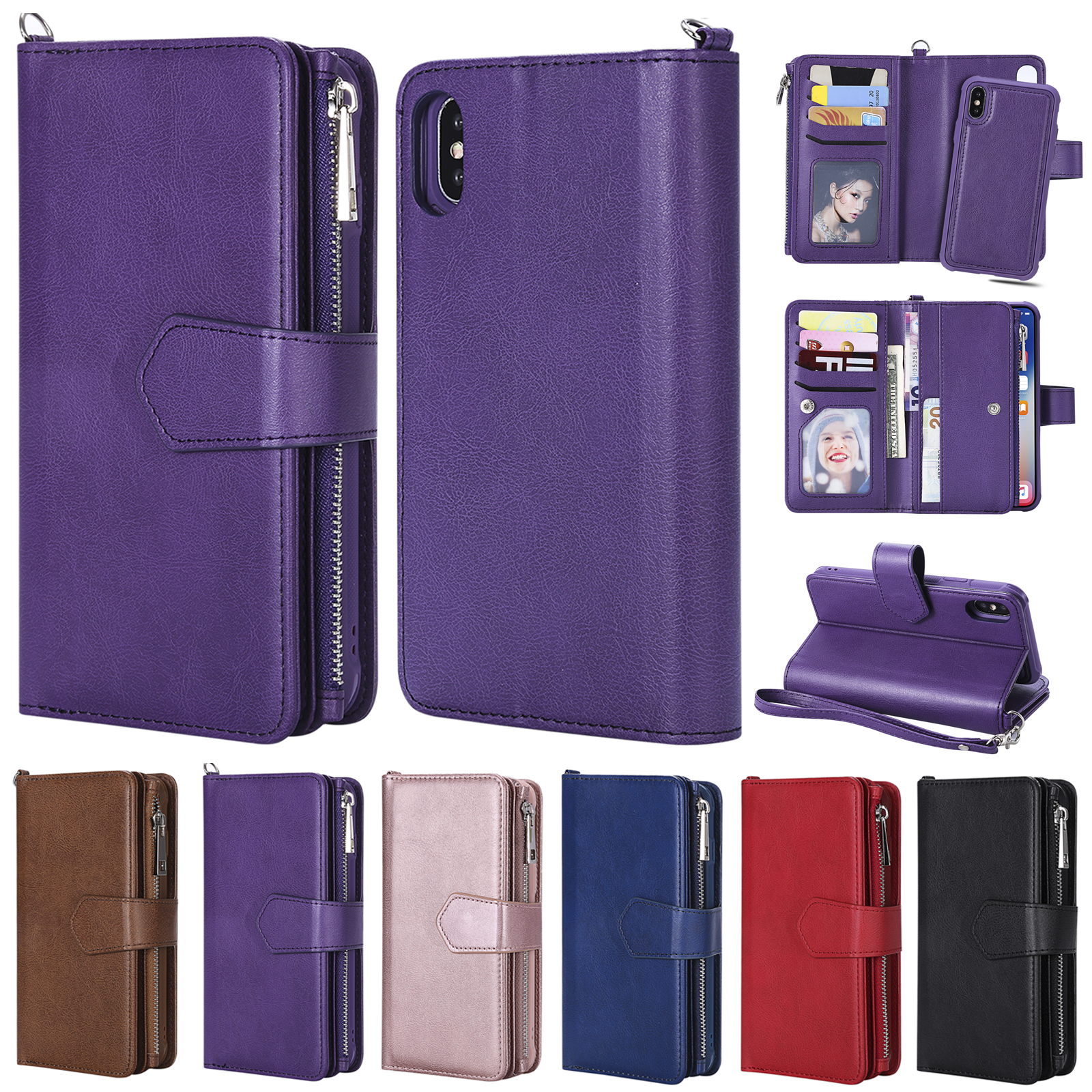 newest baed1 eb451 Details about Fr iPhone XS XR 8 7 6s Magnetic Leather Detachable Zipper  Wallet Card Purse Case