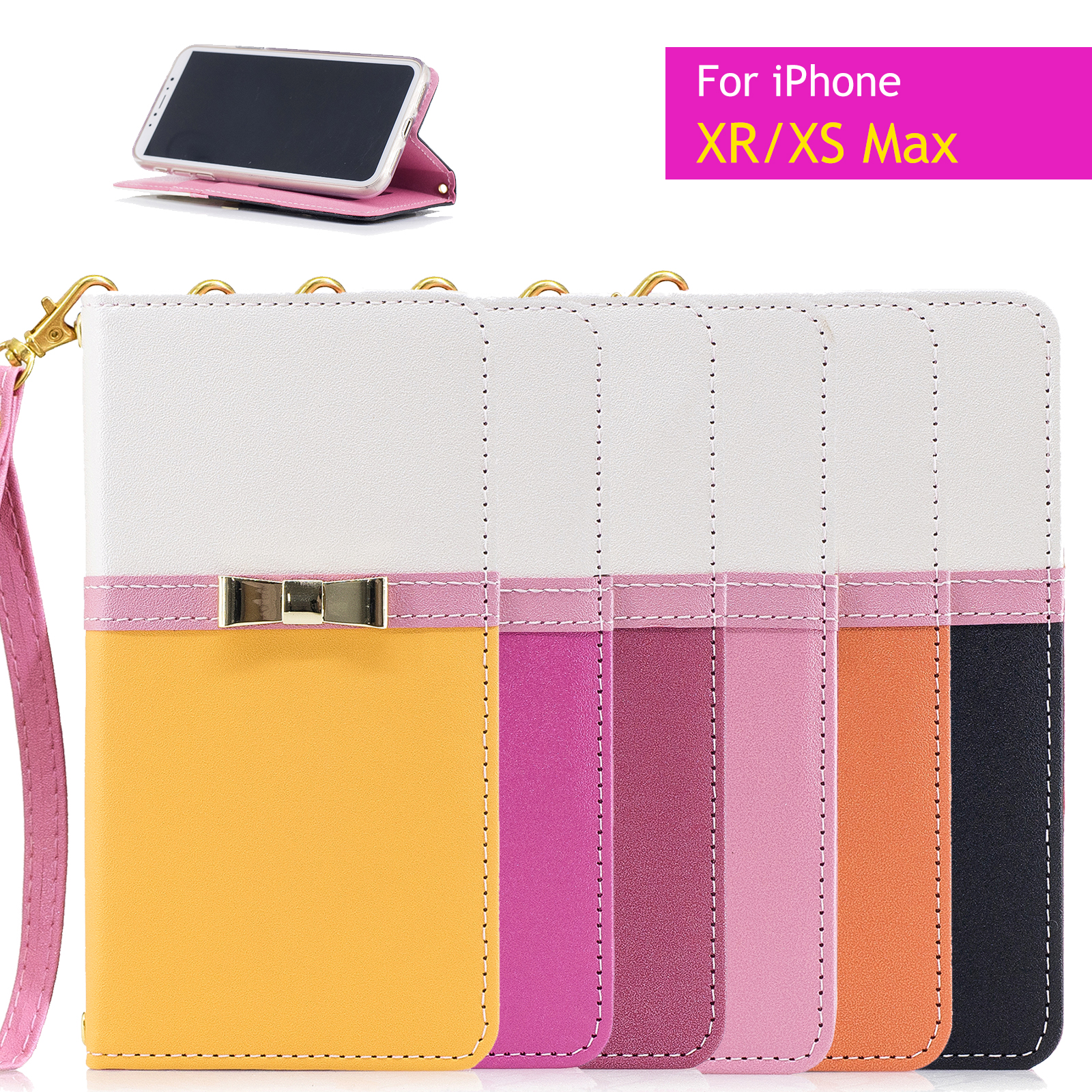 0a83cff08 Image is loading Bowknot-Wallet-Women-Leather-Card-Stand-Case-Cover-