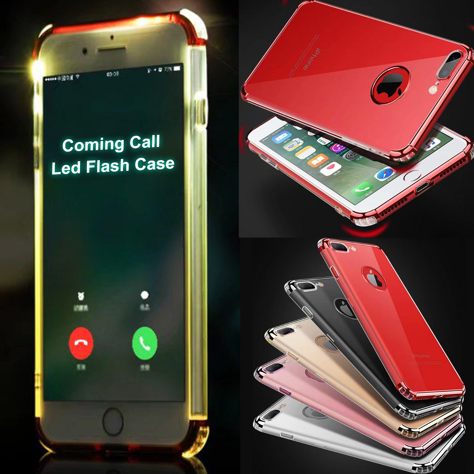 Led Flash Light Up Remind Incoming Call Shockproof Cover Case Iphone 6 Plus 7 8