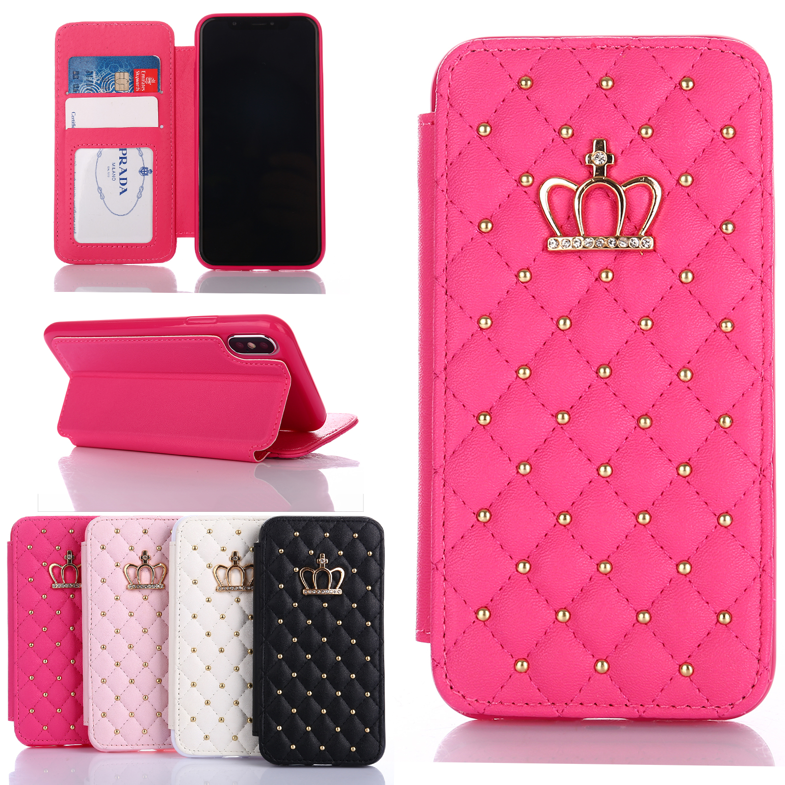 b918d7d426c0 Girls Crown Leather Diamond Stand Wallet Case Cover Fr iPhone XS Max XR 7/8  Plus