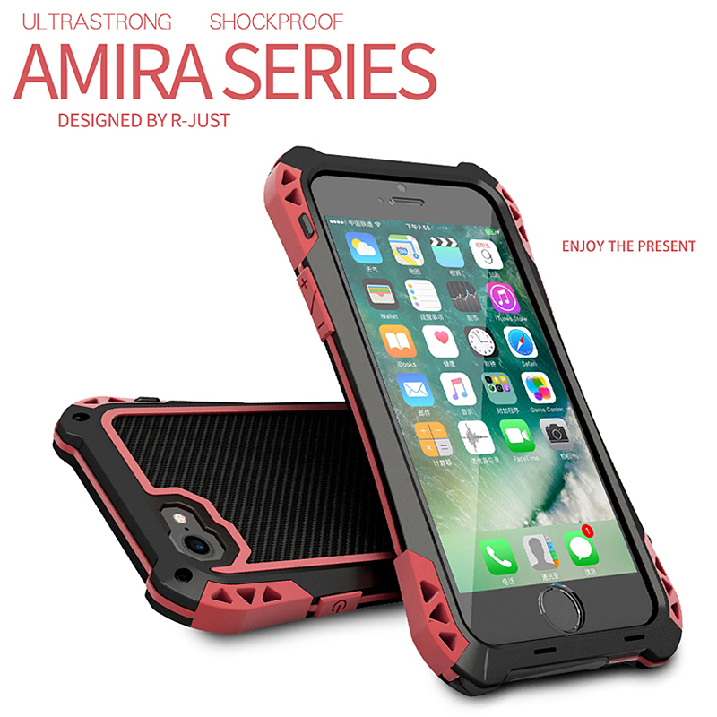 buy popular a45b3 1b34c Details about For iPhone Xs Max XR X 8/7/6s Plus Waterproof Metal Carbon  Fiber Armor Case Cove