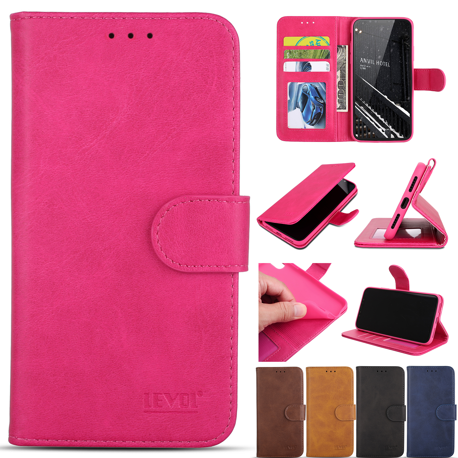 huge selection of 988ae 3c674 Details about Retro Leather Magnetic Flip Stand WalletCase Cover Fr Apple  iPhone X 8 7 6s Plus