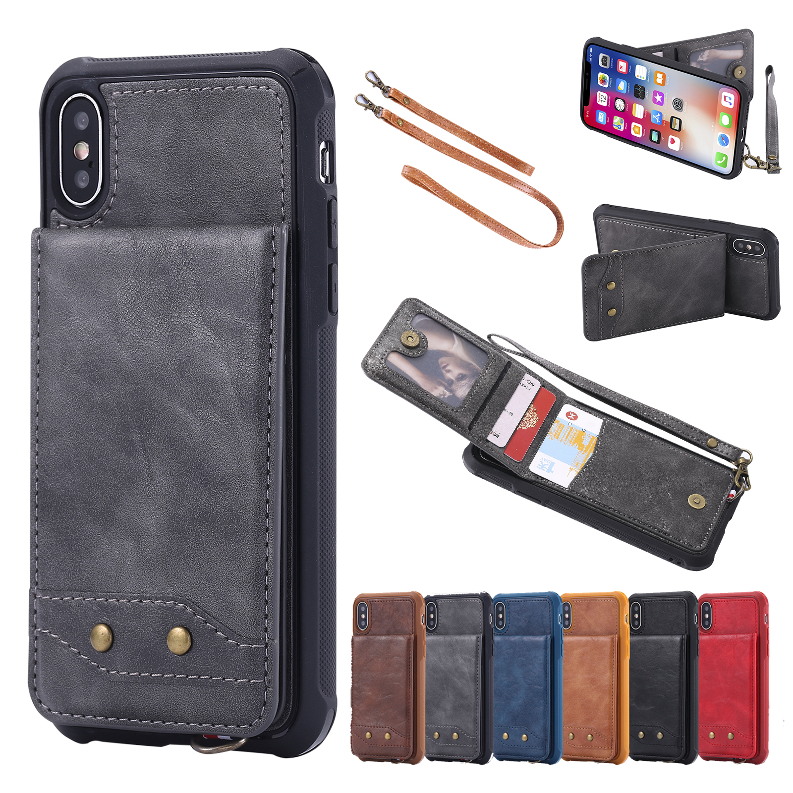 super popular d2e88 267bc Details about Leather Credit Card Holder W/Strap Wallet Case Cover For  iPhone XS Max XR 6/7/8+