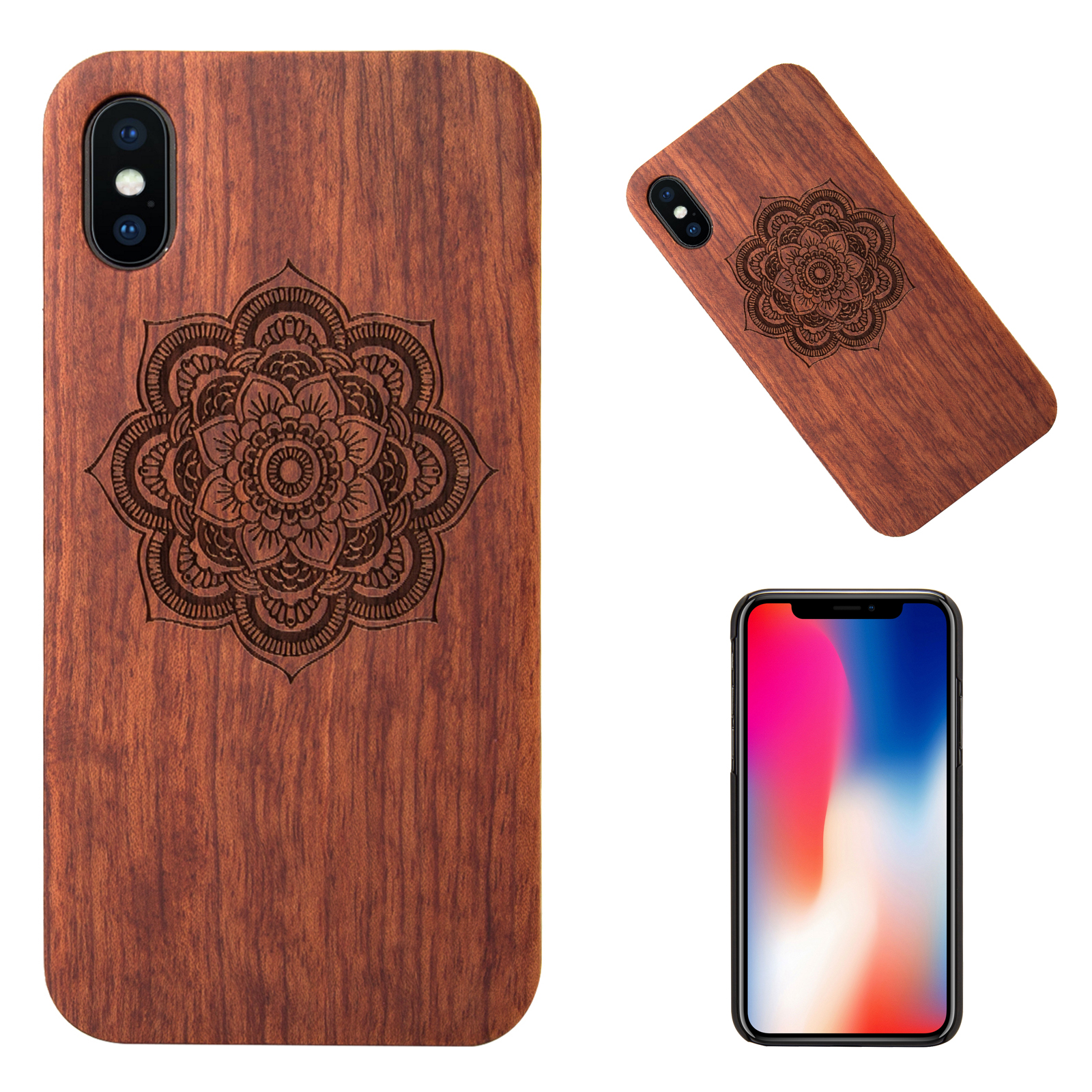 100-Natural-Wooden-Wood-PC-Phone-Hard-Back-Case-Cover-Skin-For-Apple-iPhone-X