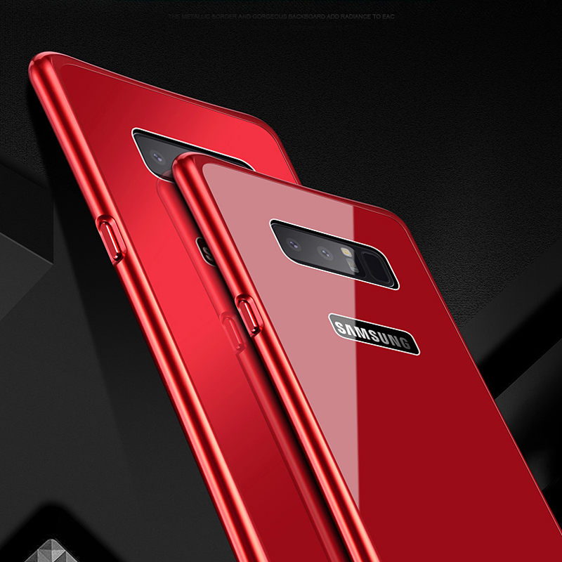 Luxury-Slim-Metal-Bumper-Tempered-Glass-Case-For-Samsung-Galaxy-S8-S9-Plus-Note8